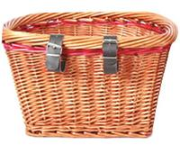 FRONT WICKER BASKET WITH LEATHER STRAPS
